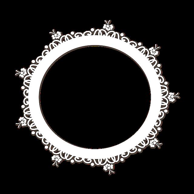 圆形白色花纹边框