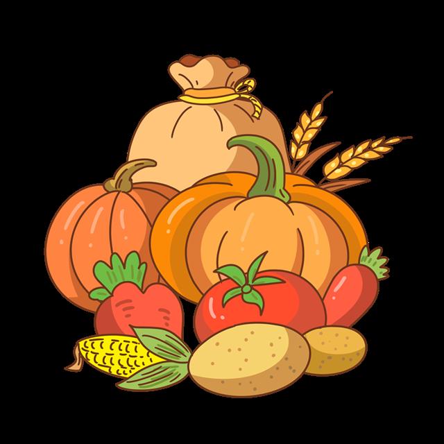 秋季丰收果实矢量图