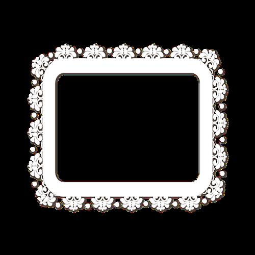 白色蕾丝边框