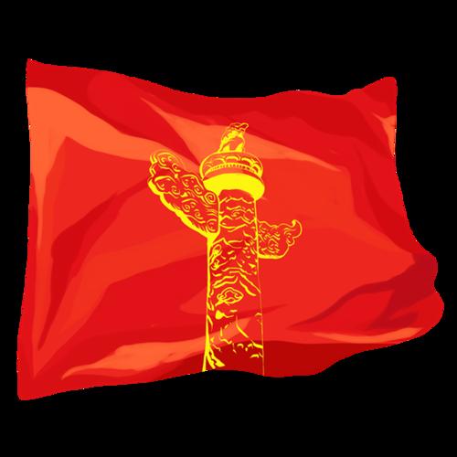 国庆节华表红旗矢量图