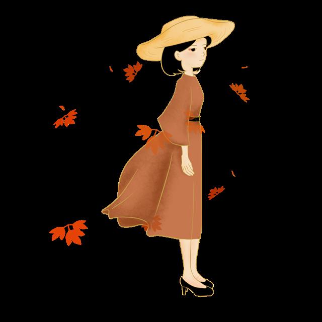秋天人物卡通图片