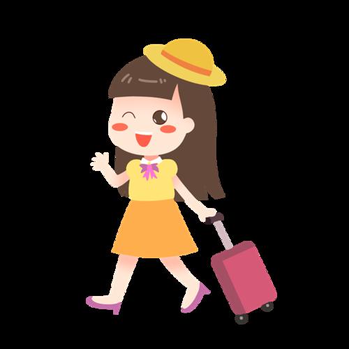 旅游出行女士插画