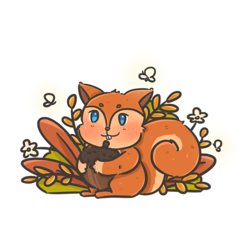秋天小松鼠矢量图