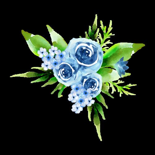 彩绘蓝色花朵