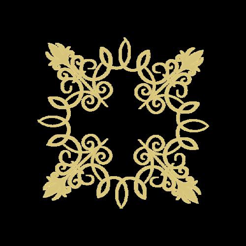 矩形烫金花纹边框