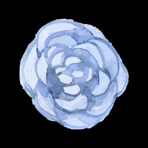 蓝色水彩花朵图片