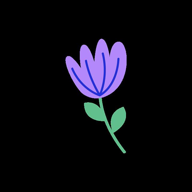 紫色手绘小花朵矢量图