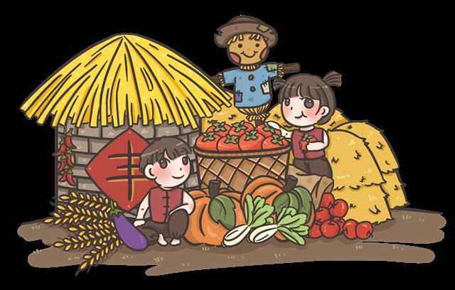 秋收粮食人物免抠图