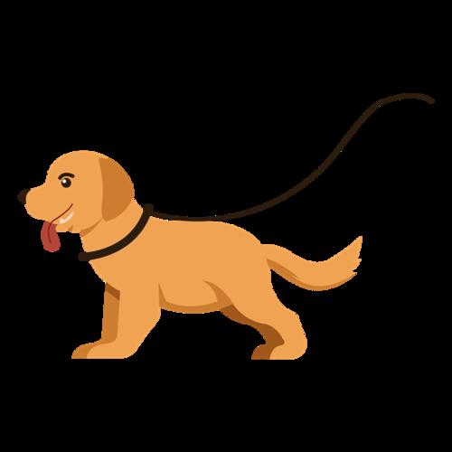 外出遛狗矢量图