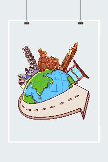 全球旅行矢量图