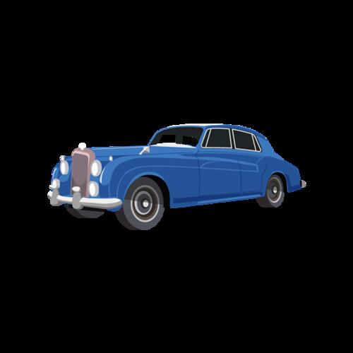 蓝色轿车矢量图