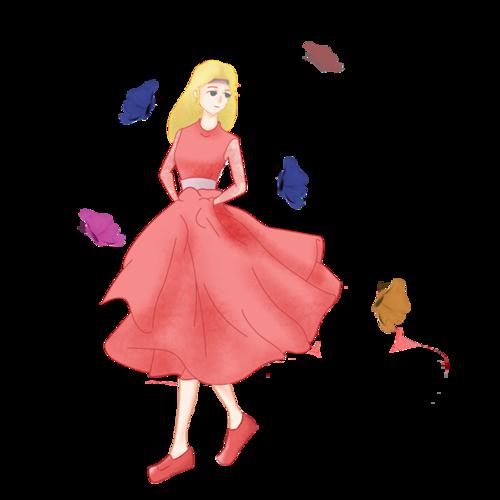 秋季穿连衣裙女孩插画