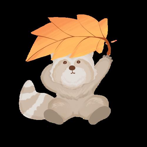 秋季动物小熊枫叶插画