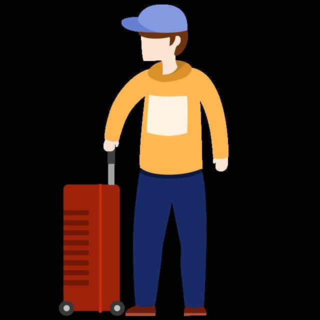 旅行男士人物插画
