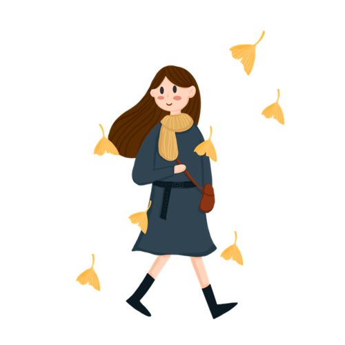 秋季穿搭少女免抠图