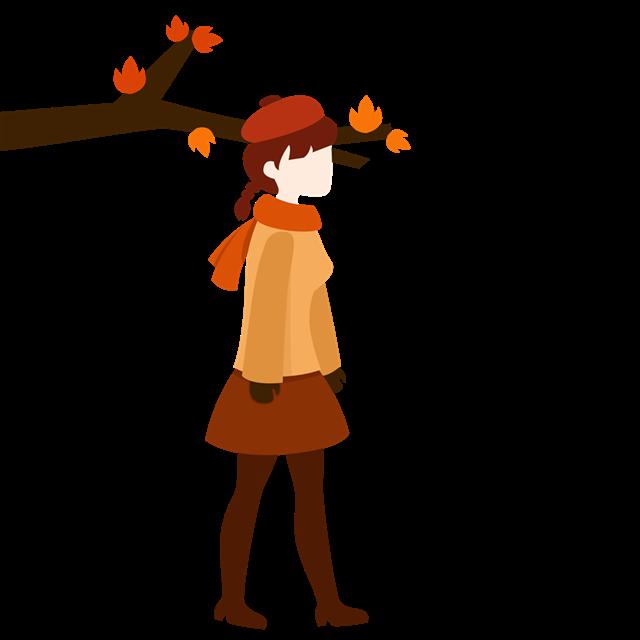 秋季人物插画图片