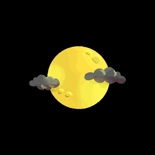 水彩插画风月球矢量图