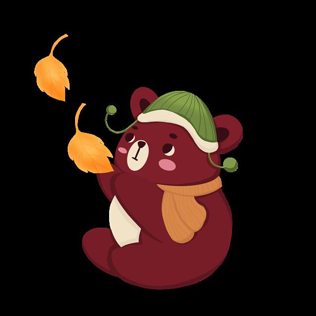 秋季小熊卡通图片