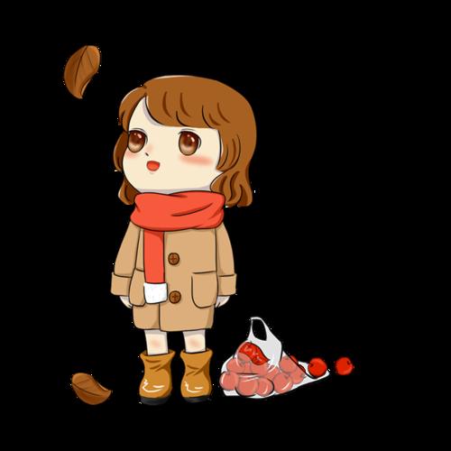 秋季果实女孩免抠图