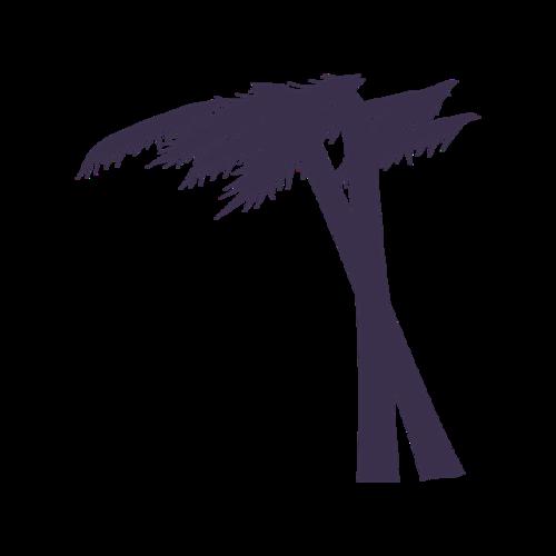 沙滩椰子树剪影矢量图