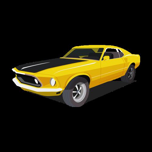 黄色汽车免抠图