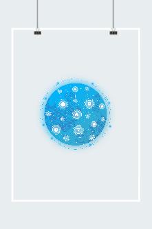 蓝色科技地球矢量图