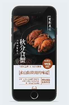 中秋节大闸蟹宣传海报