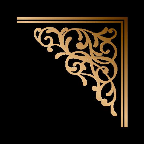 金色边角花纹装饰