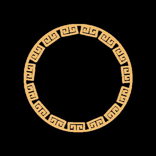 圆形金色花纹边框