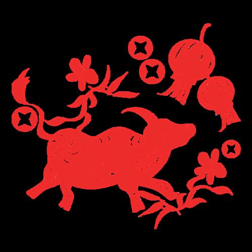 牛年新春剪纸图案
