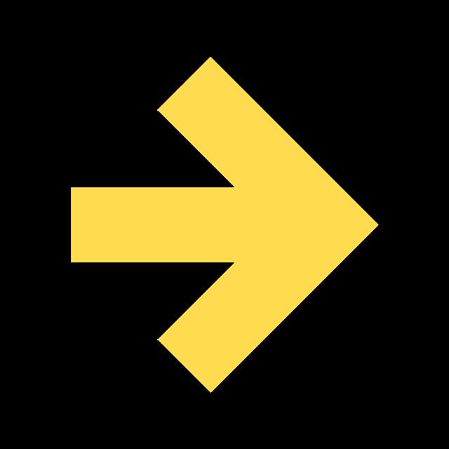 黄色箭头指示标