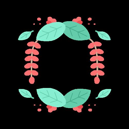 圆形艺术花草边框
