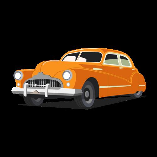 复古黄色小汽车插画