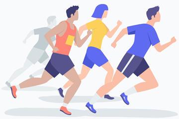 创意跑步男女矢量图