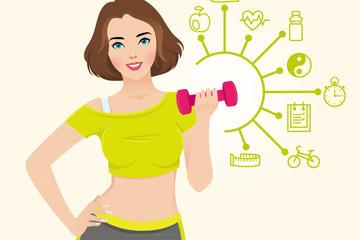 健身插画素材