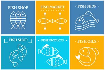 白色抽象鱼标志矢量素材