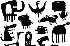卡通动物剪影