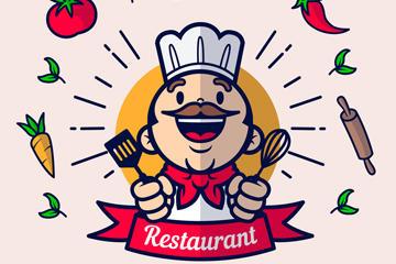餐馆厨师创意插画图标设计