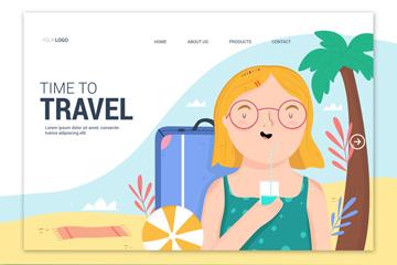 夏季旅行女子矢量图
