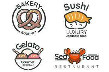 卡通餐饮标志矢量图