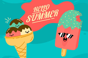 夏季雪糕矢量图