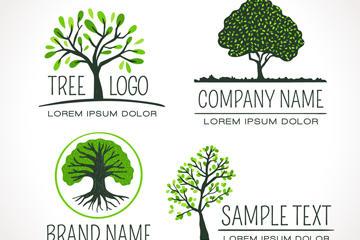 手绘绿色树木标志矢量图