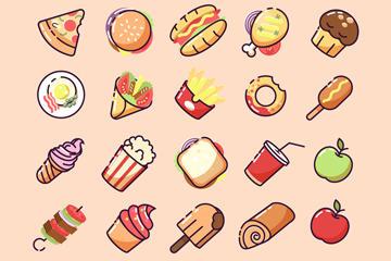 卡通食物图标矢量图