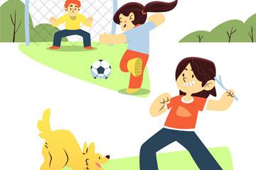 儿童玩耍插画图片