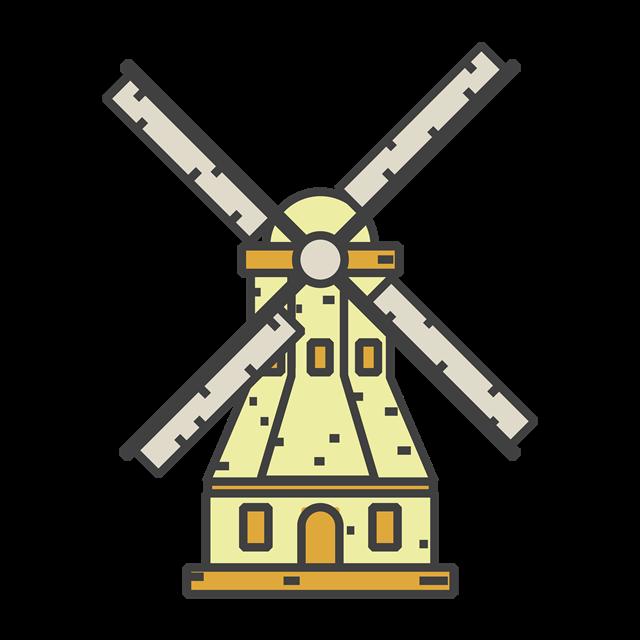 卡通荷兰风车图片