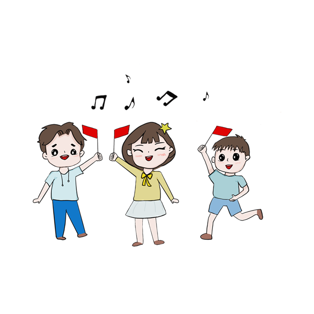国庆放假学生欢呼卡通插画
