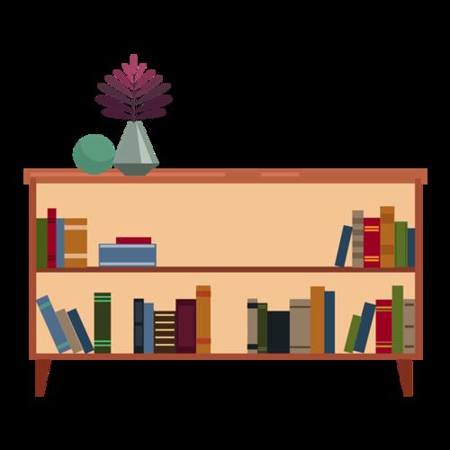 居家生活书柜书架卡通图片