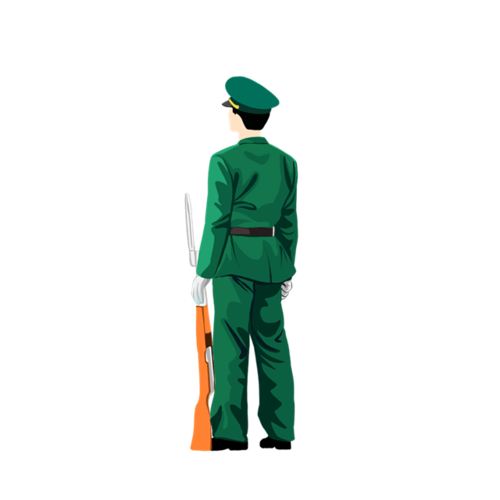 军人背影简笔画