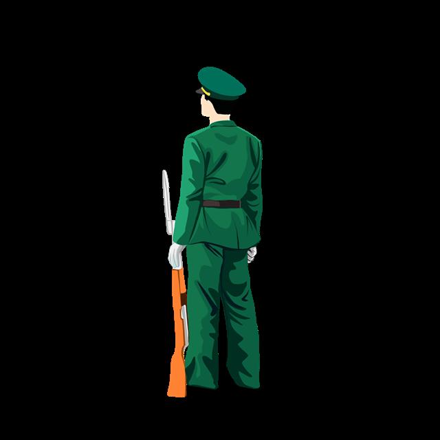 军人持枪背影图