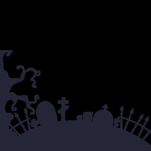 万圣节墓地剪影